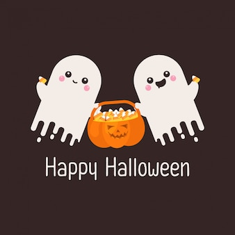 Cute two ghost and pumpkin with candies