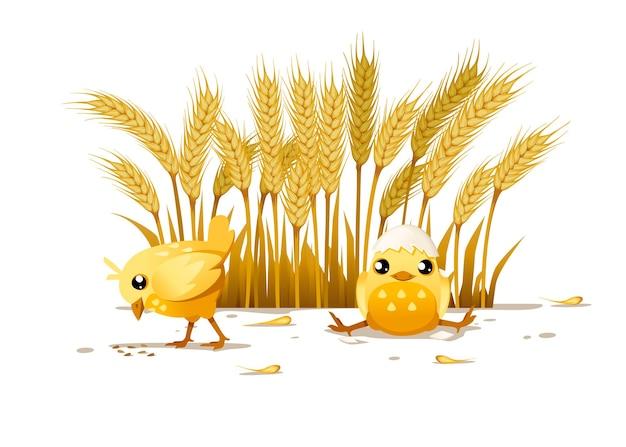かわいい2つの小さなひよこ1つのひよこは地面から食べ、もう1つのひよこは卵の殻から帽子をかぶって座る漫画のキャラクターデザイン背景の田園風景デザインに小麦の耳を持つフラットベクトルイラスト