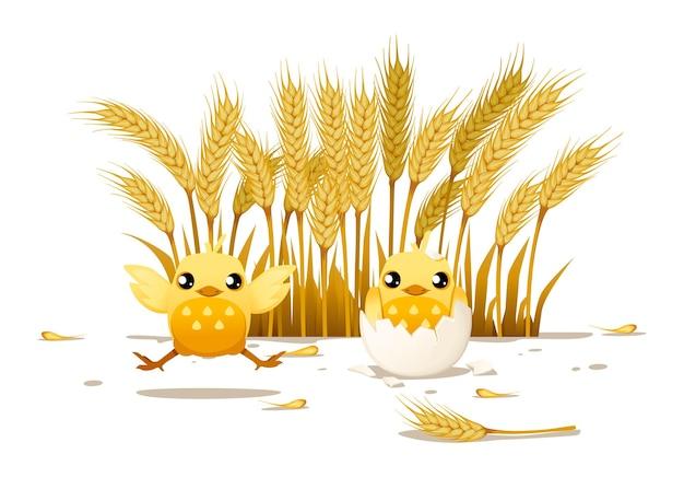 かわいい2つの小さなひよこ1つは跳ね上がり、もう1つは壊れた卵の殻に座る漫画のキャラクターデザイン背景の田園風景デザインに小麦の耳を持つフラットベクトルイラスト