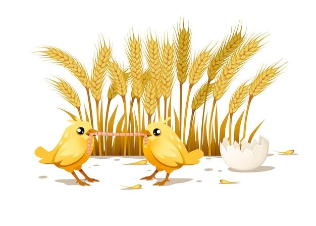 かわいい2つの小さなひよこ立って食べるワームの側面図漫画のキャラクターデザイン背景に小麦の耳を持つフラットベクトルイラスト田舎のシーンのデザイン