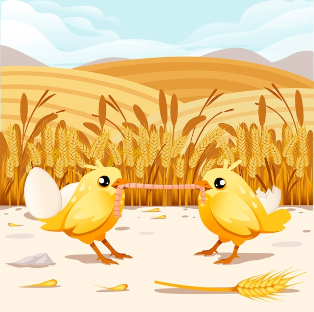 Cute two little chick standing and eating worm on wheat field cartoon character design flat vector illustration with wheat ears on background rural scene landscape with hills.