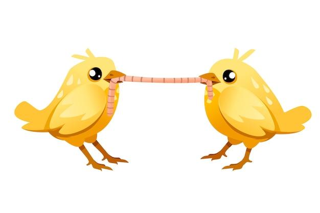 立ってワームを食べているかわいい2羽のひよこ。漫画のキャラクターのイラスト。