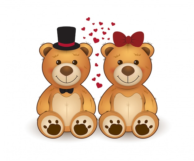 Cute two teddy bears in love