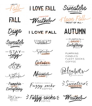 Cute typography quotes with autumn and winter cozy phrases.  on white background. motivational hygge lettering. scandinavian danish style.