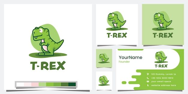 かわいいティラノサウルスレックス、漫画バージョン、ロゴデザインのインスピレーション