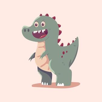 かわいいティラノサウルスレックスベクトル漫画恐竜イラスト背景に分離されました。