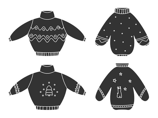 귀여운 못생긴 크리스마스 스웨터 글리프 블랙 세트. 니트 겨울 옷. 장식 및 사슴 점퍼