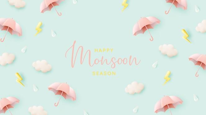 Симпатичный зонт для сезона дождей в пастельных тонах и векторная иллюстрация в стиле бумажного искусства