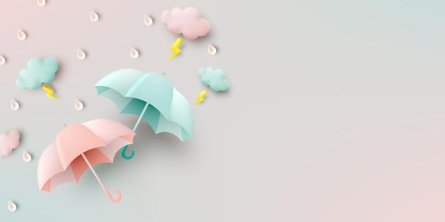モンスーンシーズンのかわいい傘