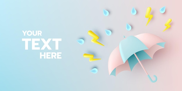 Cute umbrella for monsoon season with pastel color scheme and paper art style illustration