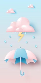 Cute umbrella for monsoon season with pastel color