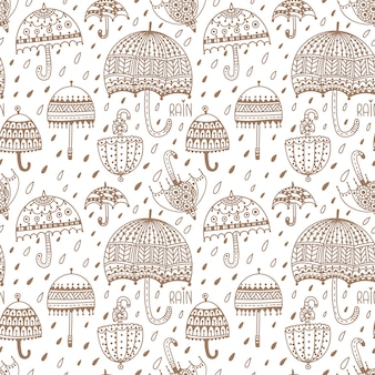 Cute umbrellas. seamless vector pattern. hand drawn. coloring page. adult for kids