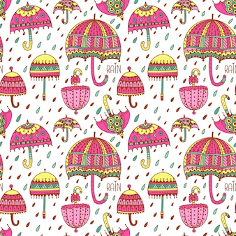 Cute umbrellas seamless vector pattern