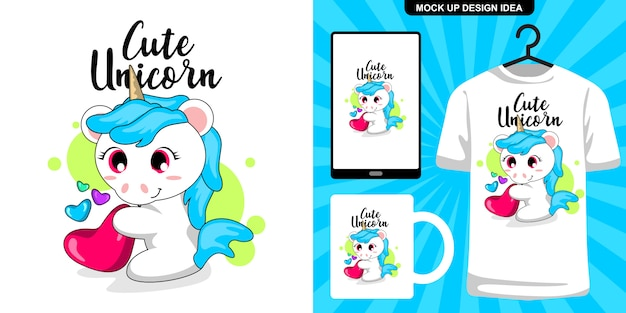 Cute unciorn hold a heart illustration and merchandising