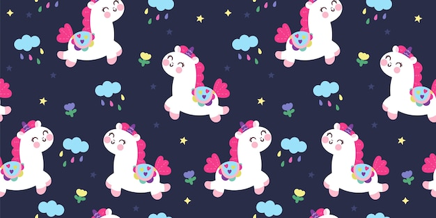 Cute unciorn seamless pattern night background kawaii animal