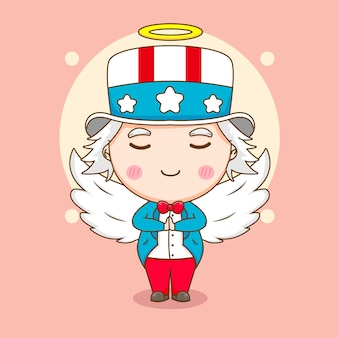 Милый дядя сэм в образе ангела с крыльями и нимбом персонажа из мультфильма