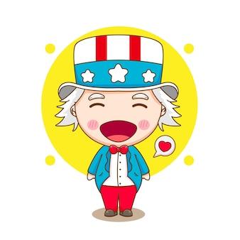 かわいいアンクルサム漫画のキャラクターイラスト