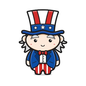 Cute uncle sam character celebrate america independence day cartoon icon