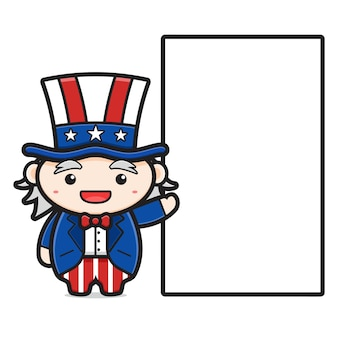 Cute uncle sam character with blank text cartoon icon. design isolated on white