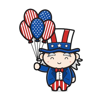 Cute uncle sam holding balloon celebrate america independence day cartoon icon