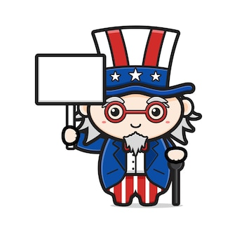 Cute uncle sam holding blank text celebrate america independence day cartoon icon illustration