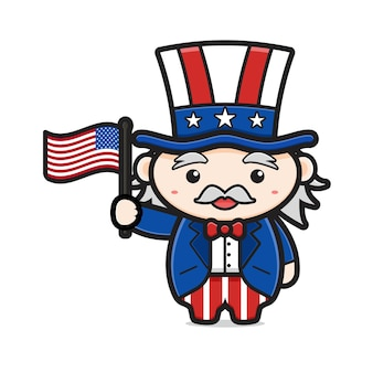 Cute uncle sam holding flag celebrate america independence day cartoon icon
