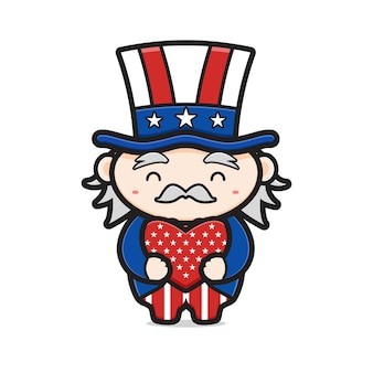 Cute uncle sam hug love celebrate america independence day cartoon icon