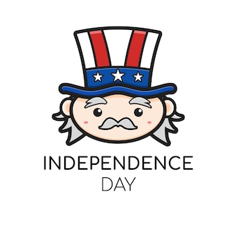 Cute uncle sam logo celebrate america independence day cartoon icon.