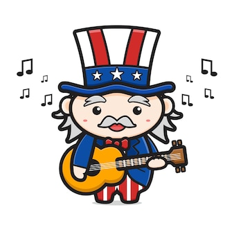 Cute uncle sam playing guitar celebrate america independence day cartoon icon