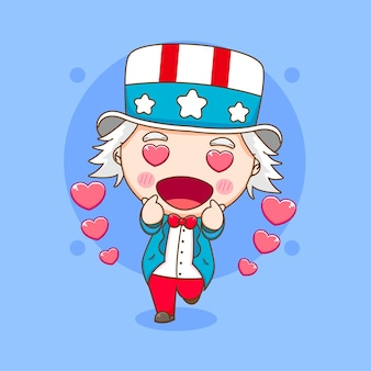 Cute uncle sam posing love finger cartoon character illustration