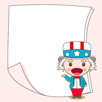 Cute uncle sam with blank paper behind cartoon character illustration