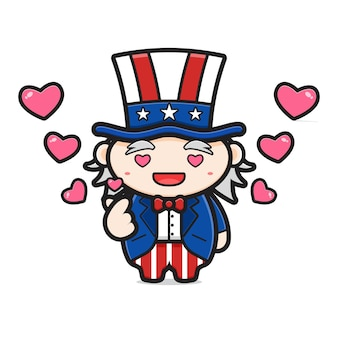Cute uncle sam with finger love pose celebrate america independence day cartoon icon illustration