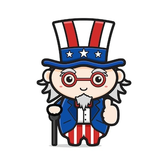 Cute uncle sam with good pose celebrate america independence day cartoon icon