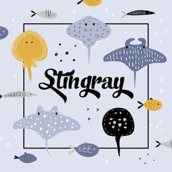 Cute underwater creatures . creative childish background with fish and stingray for cover, decoration, prints.