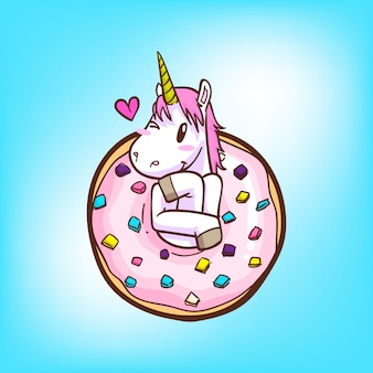 Cute unicorn and donuts