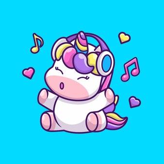 Симпатичные единорог и музыка значок иллюстрации. единорог талисман мультипликационный персонаж. животное иконка концепция изолированные
