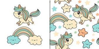 かわいいユニコーンと虹