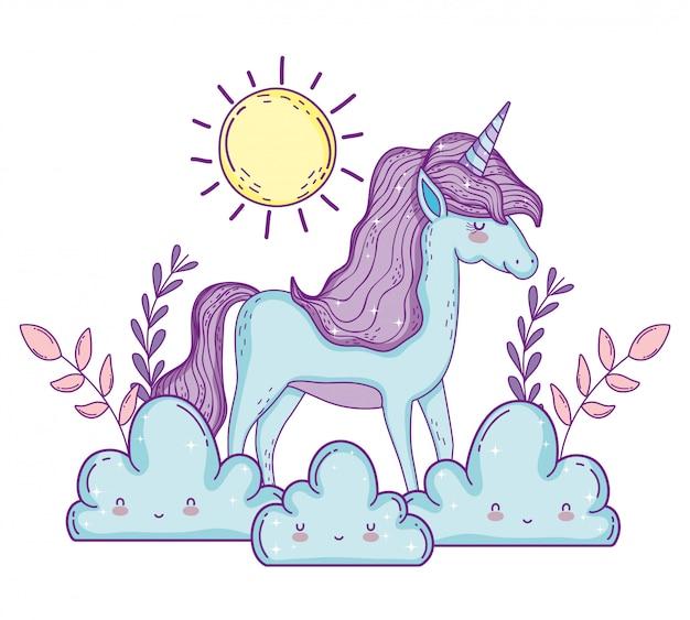 Cute unicorn animal i the clouds with sun