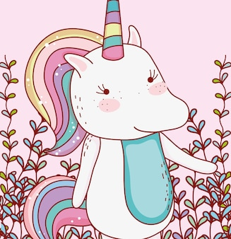 Cute unicorn animal with branches leaves