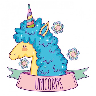 Cute unicorn animal with ribbon and flowers