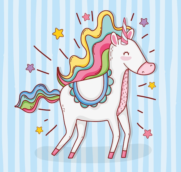 Cute unicorn animal with stars and hairstyle