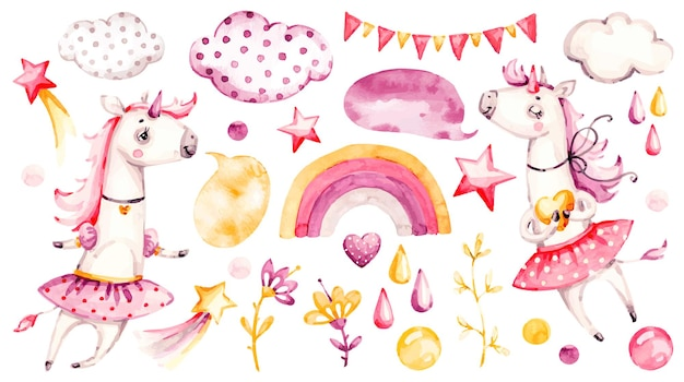 Cute unicorn baby girl illlustration design