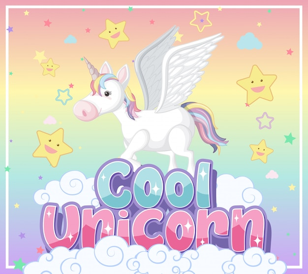 Cute unicorn banner on pastel background color