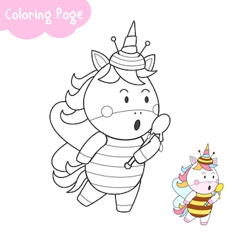 Cute unicorn in bee costum