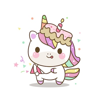 Cute unicorn birthday cartoon
