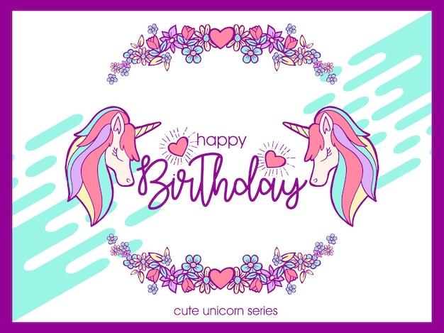 Cute unicorn birthday greeting illustration