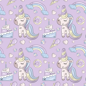 Cute unicorn birthday seamless pattern