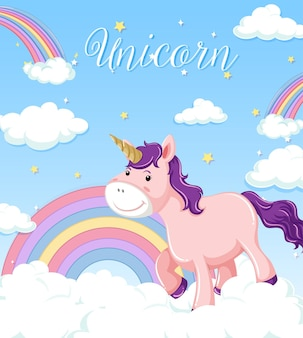 Cute unicorn on blue sky with clouds