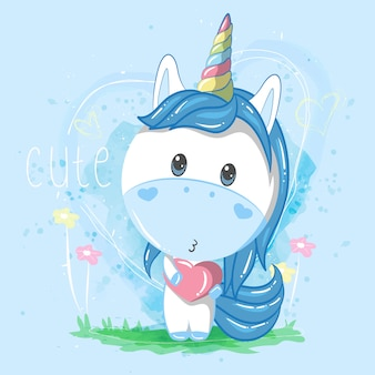 Cute unicorn boy with heart