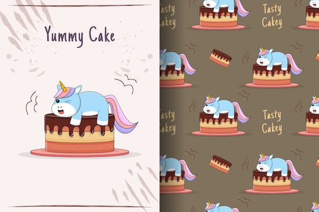 Cute unicorn on cake seamless pattern and card
